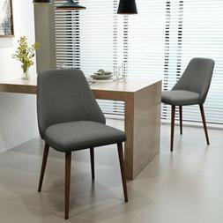 Mable Mid Century Fabric Dining Chairs with Wood Finished Le