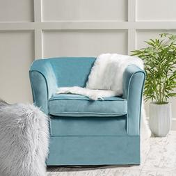 Malie   Velvet Swivel Club Chair with Loose Cover   in Sky B