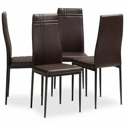 Baxton Studio Matiese Faux Leather Dining Chair in Brown
