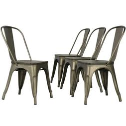 Metal Dinning Chairs with Wooden Seat Stackable Side Chairs