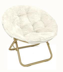Urban Shop Micromink Saucer Chair with Gold Frame, One Size,