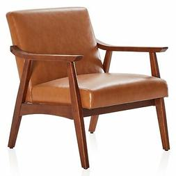 Mid-Century Accent Chair Upholstered Faux Leather Armchair W