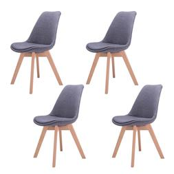 Mid Century Dining Side Armless Chairs Set of 4 Modern Wood