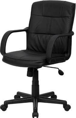 Flash Furniture Mid-Back Black Leather Swivel Task Chair wit