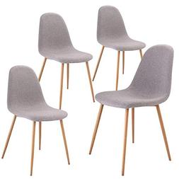 Giantex Dining Side Chairs Set of 4 Sturdy Metal Legs Wood L