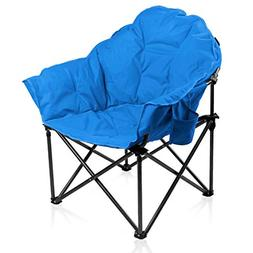 ALPHA CAMP Oversized Moon Saucer Chair with Folding Cup Hold