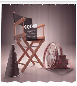 Movies Shower Curtain Directors Chair Seat Print for Bathroo