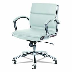 Neratoli Low-Back Slim Profile Chair, White Faux Leather, Ch
