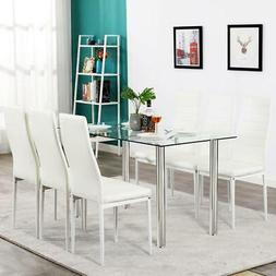 Hot 7 Piece Dining Table Set 6 Chairs Glass Metal Kitchen Ro