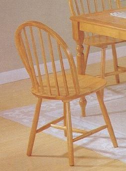 Set of 4 Oak Finish Windsor Country Style Wood Dining Chair/