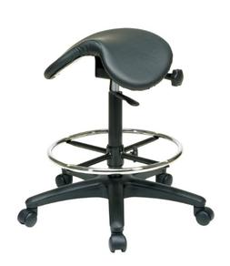 Office Star Backless Office Stool with Saddle Seat and Angle