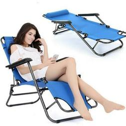 Foldable Chaise Metal Lounge Chair Patio Outdoor Pool Beach