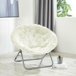 Oversized Moon Saucer Chair Mongolian Faux Fur Lounging Soft