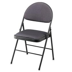 Cosco Oversized Upholstered Metal Folding Chair in Black | F