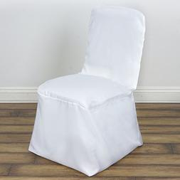 BalsaCircle 10 pcs White Polyester Square Top Banquet Chair