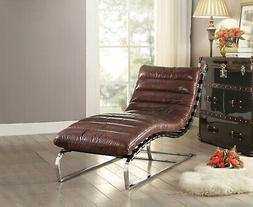 Acme Furniture Qoritni Top Grain Leather Stainless Steel Cha