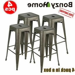 Set of 4 30 inch Metal Barstools Stackable Cafe Bar Counter