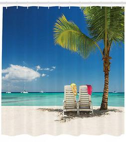 Remote Beach with Palm Tree Chairs And Boats Theme Picture S