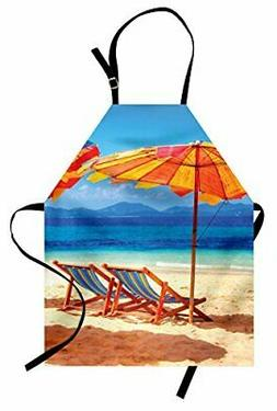 Ambesonne Seaside Apron Deck Chairs Overlooking Tropical Sea