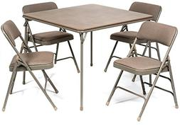 XL Series Folding Card Table and Fabric Padded Chair Set  -