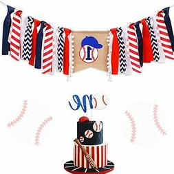LaVenty Set of 2 Baseball First Birthday Party Banner Baseba