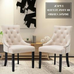 Set of 2 Elegant Fabric Dining Chairs Button Tufted Pattern