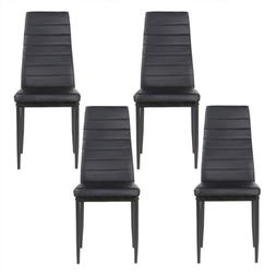 set of 4 black stunning leather dining