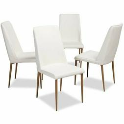 Baxton Studio Chandelle Faux Leather Dining Chair in White