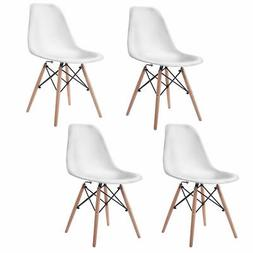 COSTWAY Set of 4 Mid Century Modern DSW Dining Side Chair Wo