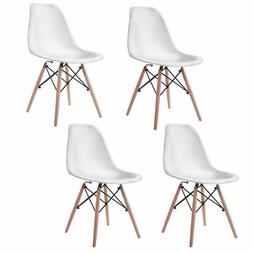 Set of 4 Mid Century Modern DSW White Dining Side Chair Wood