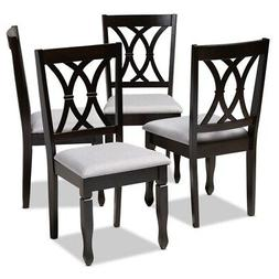 Baxton Studio Reneau Fabric and Wood Dining Chairs in Gray a