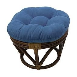 Blazing Needles Solid Microsuede Tufted Round Footstool Cush