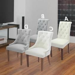 Solid Wood High Back Upholstered Fabric Dining Chairs, Set o