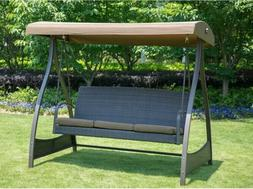Swing With Stand Patio Porch Bench Canopy Wicker Seat Heavy
