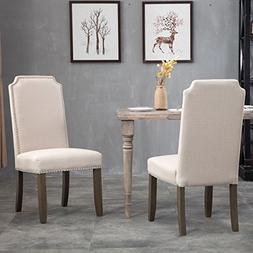 Merax PP036191AAA Set of 2 Stylish Upholstered Fabric Dining