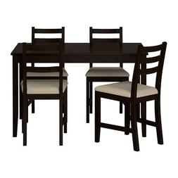 Ikea Table and 4 Chairs, Black-brown, Vittaryd Beige