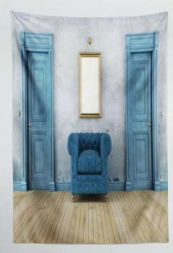 Tapestry  Antique Blue Chairs N Doors Wall Hanging Decor 40x