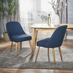 Trimay Mid Century Navy Blue Fabric Dining Chair