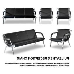 Black Waiting Room Chair Reception PU Leather Office Airport