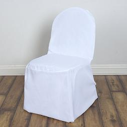 BalsaCircle 100 pcs White Polyester Banquet Chair Covers Sli