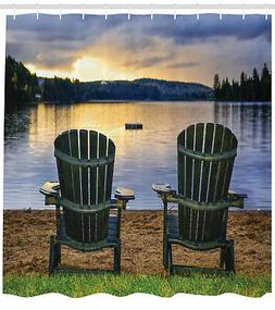 Wooden Chairs on Relaxing Lakeside at Sunset Canada Image Sh